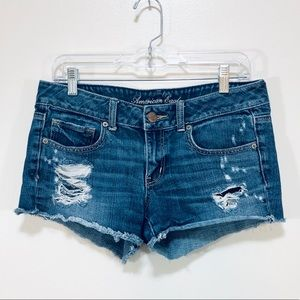 American Eagle | Distressed Jean Shortie Shorts